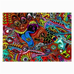 Art Color Dark Detail Monsters Psychedelic Large Glasses Cloth (2 Side) by BangZart