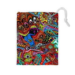Art Color Dark Detail Monsters Psychedelic Drawstring Pouches (large)  by BangZart
