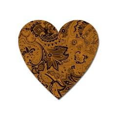 Art Traditional Batik Flower Pattern Heart Magnet by BangZart