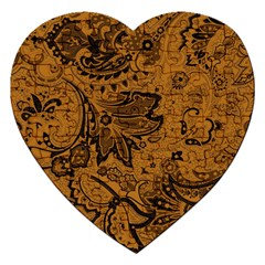 Art Traditional Batik Flower Pattern Jigsaw Puzzle (heart) by BangZart