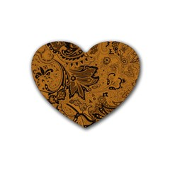 Art Traditional Batik Flower Pattern Rubber Coaster (heart)  by BangZart