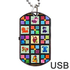 Animal Party Pattern Dog Tag Usb Flash (two Sides) by BangZart