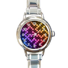 Abstract Small Block Pattern Round Italian Charm Watch by BangZart