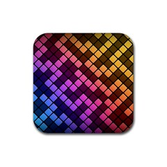 Abstract Small Block Pattern Rubber Square Coaster (4 Pack)  by BangZart