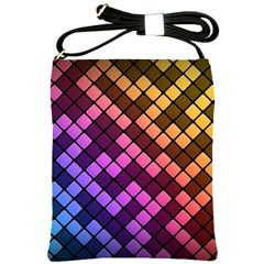 Abstract Small Block Pattern Shoulder Sling Bags