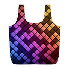 Abstract Small Block Pattern Full Print Recycle Bags (l)  by BangZart
