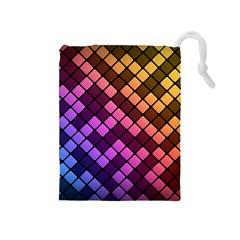Abstract Small Block Pattern Drawstring Pouches (medium)  by BangZart