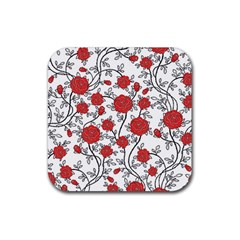 Texture Roses Flowers Rubber Coaster (square)  by BangZart