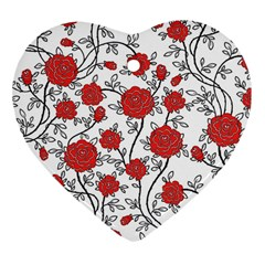 Texture Roses Flowers Heart Ornament (two Sides) by BangZart