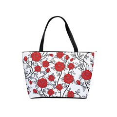 Texture Roses Flowers Shoulder Handbags by BangZart