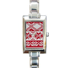 Crimson Knitting Pattern Background Vector Rectangle Italian Charm Watch by BangZart