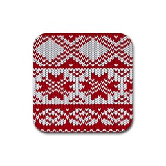 Crimson Knitting Pattern Background Vector Rubber Square Coaster (4 Pack)  by BangZart