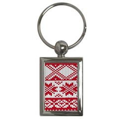 Crimson Knitting Pattern Background Vector Key Chains (rectangle)  by BangZart
