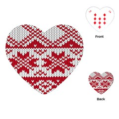 Crimson Knitting Pattern Background Vector Playing Cards (heart)  by BangZart