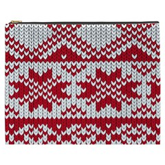 Crimson Knitting Pattern Background Vector Cosmetic Bag (xxxl)  by BangZart
