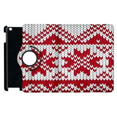 Crimson Knitting Pattern Background Vector Apple Ipad 3/4 Flip 360 Case by BangZart