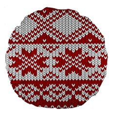 Crimson Knitting Pattern Background Vector Large 18  Premium Flano Round Cushions by BangZart