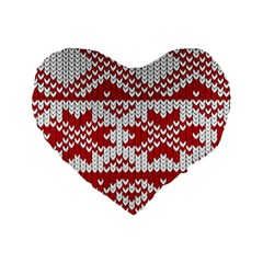 Crimson Knitting Pattern Background Vector Standard 16  Premium Flano Heart Shape Cushions by BangZart