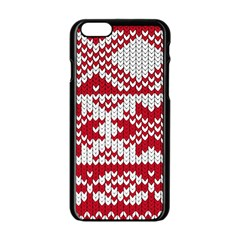 Crimson Knitting Pattern Background Vector Apple Iphone 6/6s Black Enamel Case by BangZart
