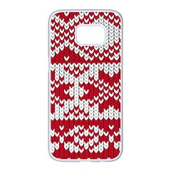 Crimson Knitting Pattern Background Vector Samsung Galaxy S7 Edge White Seamless Case