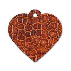 Crocodile Skin Texture Dog Tag Heart (one Side) by BangZart