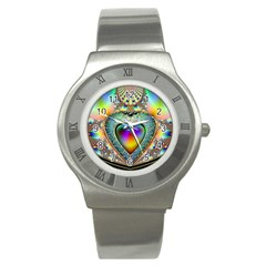 Rainbow Fractal Stainless Steel Watch by BangZart