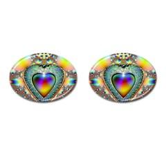Rainbow Fractal Cufflinks (oval) by BangZart