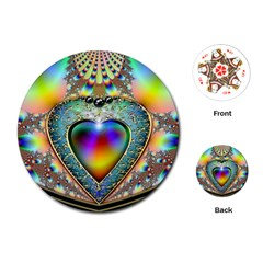 Rainbow Fractal Playing Cards (round)  by BangZart