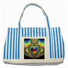 Rainbow Fractal Striped Blue Tote Bag by BangZart
