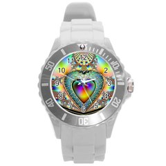 Rainbow Fractal Round Plastic Sport Watch (l) by BangZart