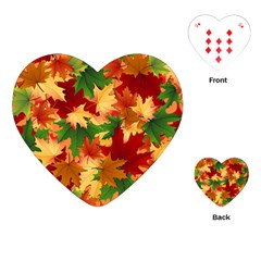 Autumn Leaves Playing Cards (heart)  by BangZart