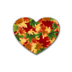 Autumn Leaves Rubber Coaster (heart)  by BangZart