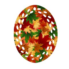 Autumn Leaves Oval Filigree Ornament (two Sides) by BangZart