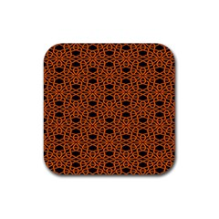 Triangle Knot Orange And Black Fabric Rubber Square Coaster (4 Pack)  by BangZart