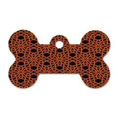 Triangle Knot Orange And Black Fabric Dog Tag Bone (two Sides) by BangZart