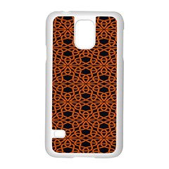 Triangle Knot Orange And Black Fabric Samsung Galaxy S5 Case (white) by BangZart