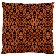 Triangle Knot Orange And Black Fabric Large Flano Cushion Case (one Side) by BangZart