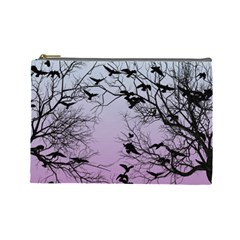Crow Flock  Cosmetic Bag (large)  by Valentinaart