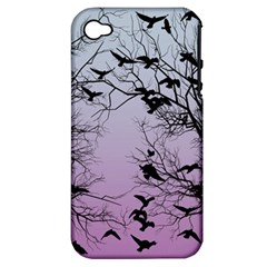 Crow Flock  Apple Iphone 4/4s Hardshell Case (pc+silicone) by Valentinaart