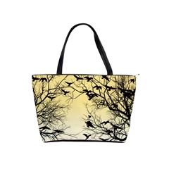 Crow Flock  Shoulder Handbags by Valentinaart