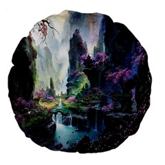 Fantastic World Fantasy Painting Large 18  Premium Flano Round Cushions by BangZart