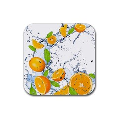 Fruits Water Vegetables Food Rubber Square Coaster (4 Pack)  by BangZart