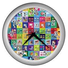 Exquisite Icons Collection Vector Wall Clocks (silver)  by BangZart