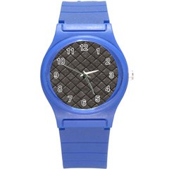 Seamless Leather Texture Pattern Round Plastic Sport Watch (s) by BangZart