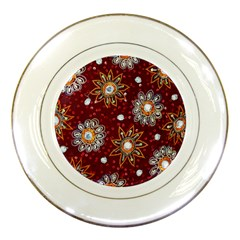 India Traditional Fabric Porcelain Plates by BangZart