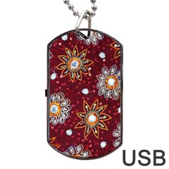 India Traditional Fabric Dog Tag Usb Flash (two Sides) by BangZart
