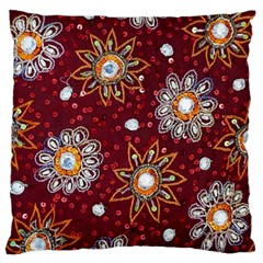India Traditional Fabric Large Cushion Case (two Sides) by BangZart