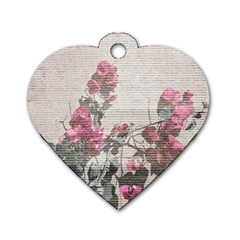 Shabby Chic Style Floral Photo Dog Tag Heart (one Side) by dflcprints
