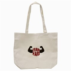 Train Hard Tote Bag (cream) by Valentinaart