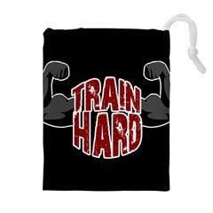 Train Hard Drawstring Pouches (extra Large) by Valentinaart